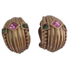 Oscar de la Renta  Jeweled Clip Earrings
