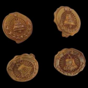 4 Vintage Gold Filled Bell System Lapel  Service Pins