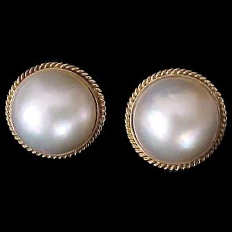 Lustrous 14K & Mabe Pearl Vintage Earrings
