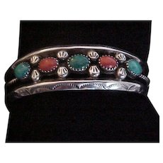 Vintage Navajo Sterling Silver Coral and Turquoise Cuff Bracelet Signed E. Claw