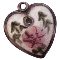 Walter Lampl  Enamel & Sterling Silver September Puffy Heart  Charm