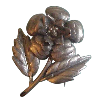 Vintage Taxco Sterling Silver  Juvenal 3D Floral Brooch Pin