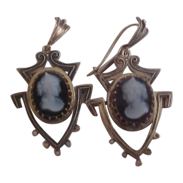 14K Victorian Cameo Hinged Earrings