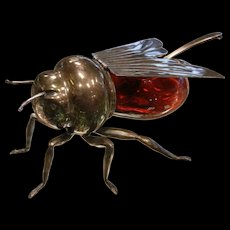 RARE Mappin & Webb Prince's Plated Silver & Red Glass Firefly Jelly Dish by London & Sheffield
