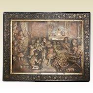 Intricate Antique Victorian Metal Relief Picture of Boudoir Living Room Scene