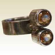 Sterling Silver Ring w/ Citrine Gemstones