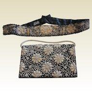 Old Vintage Hand Embroidered Velvet Handbag & Belt - Made in India