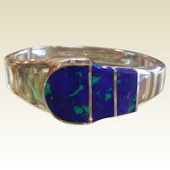Fabulous Sterling Silver Cuff Bracelet w/ Inlaid Natural Azurite Buckle Design