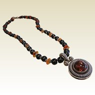 Vintage Sterling Silver & Amber Pendant necklace w/ Amber & Onyx Beads