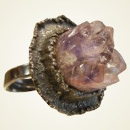 Vintage Abstract Sterling Silver Ring w/ Natural Amethyst Crystal