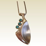Modernist Sterling Silver Leaf Pendant w/ Turquoise Accents
