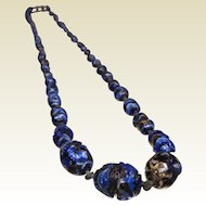 Vintage Foiled Cobalt Blue Glass Graduated Bead Necklace