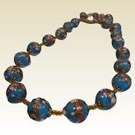 Vintage Venitian Blue Wedding Cake Bead Necklace
