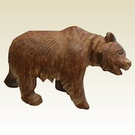 Vintage Hand Carved Wooden Figurine - Brown Bear