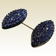 Vintage Blue Old Plastic and Blue Rhinestone Adorned Hat Pin
