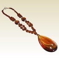 Vintage Amber Color Glass Bead Necklace w/ Glass Drop Pendant