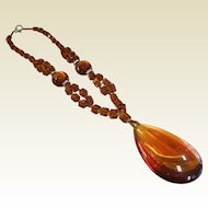 Vintage Amber Color Glass Bead Necklace w/ Glass Drop Pendant