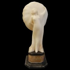 Art Deco Carved White Alabaster Marble Sculpture Signed Raggio Sole Italy