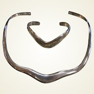 Signed LBC Mexican Sterling Silver Cuff Bracelet & Necklace Set