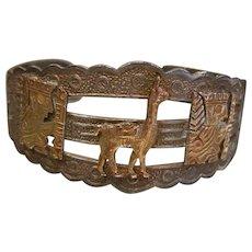 Vintage PERU Sterling Silver & 18K Cuff Bracelet