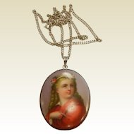 Vintage Porcelain Pendant Necklace w/ Hand Painted Portrait
