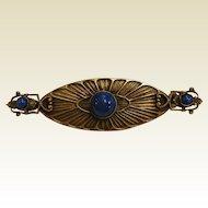 Vintage Arts & Crafts Era Silver Brooch w/ Blue Glass