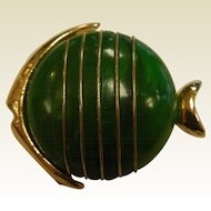 Vintage Green Plastic Bakelite Striped Gold-Tone Fish Brooch