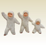 Antique  German Snow Babies Dolls - Set of 3
