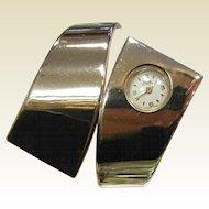 Vintage Mid Century Canri By Mepa Gold-Tone Cuff Bracelet Watch