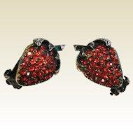 Vintage Rhinestone Strawberry Clip Earrings