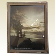 "Framed Vintage Photograph ""When Darkness Falls Over Anchorage Bay - Anchorage Alaska"""