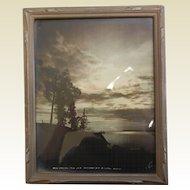 "Framed Vintage Photograph ""When Darkness Falls Over Anchorage Bay - Anchorage Alaska"""