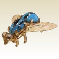 Vintage Costume Jewelry Bug Pin w/ Art Glass Body