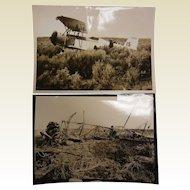 Vintage B&W Photographs - Plane Crash Before/After