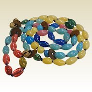 Vintage Peking Glass Bead Necklace w/ Medallions & Bells