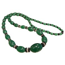 Vintage Graduated Green & Black Glass Bead Necklace