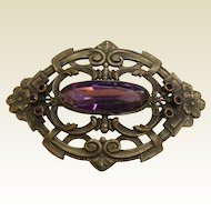 Large 1930's Vintage Brooch w/ Faceted Amethyst Glass