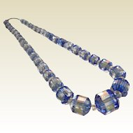 Vintage Graduated Faceted Clear-Blue Glass Bead Necklace
