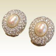 Rhinestone & Faux-Pearl Clip Earrings Signed Christian Dior