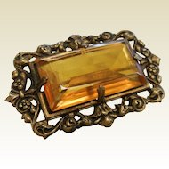 Vintage 1930's Brooch w/ Faceted Orange Glass And Pierced Frame