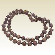 Vintage Carved Natural Amethyst Bead Necklace