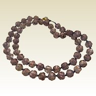 Vintage Carved Natural Amethyst Bead Necklace