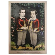 Vintage Colored Lithograph Drawing Pubo by Currier & Ives - The Little Brothers