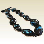 Vintage Black & Blue Foil Bead Choker Necklace