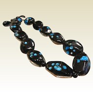 Vintage Black & Blue Foil Bead Choker Necklace