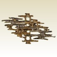 Vintage ART Two-Tone Modernist Costume Jewelry Brooch