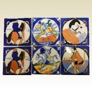 Unique Vintage Glazed Ceramic Tiles - Set of Six