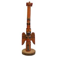 Vintage Genuine Alaskan Hand Carved Miniature Totem Pole
