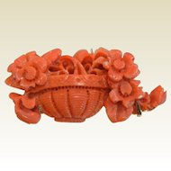 Fine Hand Carved Natural Coral Basket of Flowers Brooch