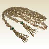 Super Long Vintage Hand Beaded Lariat Necklace w/ Green Wedding Cake Beads